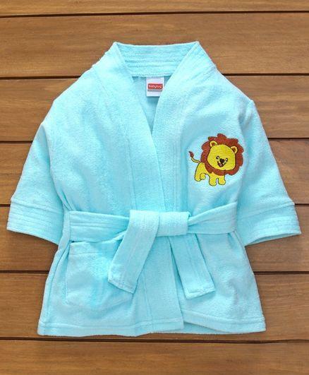 Babyhug Full Sleeves Cotton Bath Robe Lion Patch - Blue