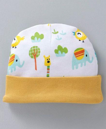 Babyhug Cotton Round Cap Allover Print - Yellow White