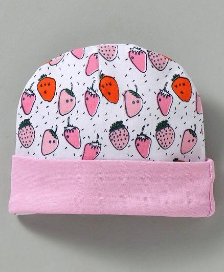 Babyhug Cotton Round Cap Fruit Print - Pink