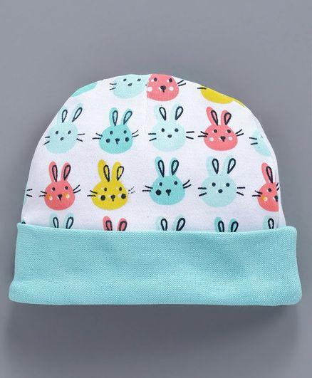 Babyhug Cotton Cap Bunny Print - Sea Green