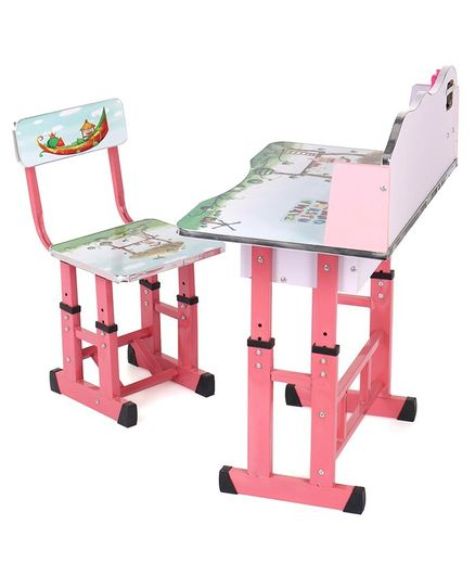 Study Table With Chair Alphabet Print - Pink