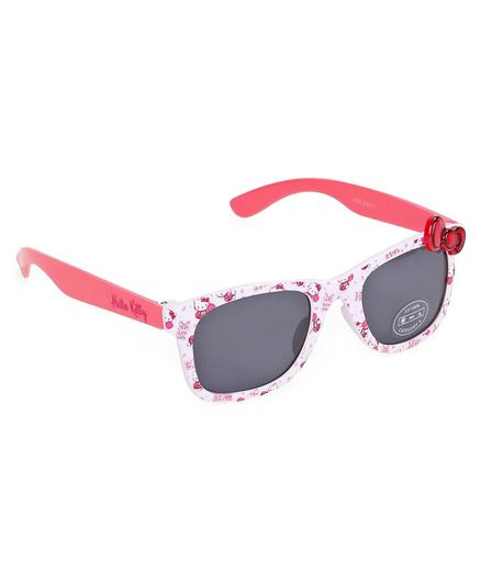 5f5af3ff59 Hello Kitty Wayfarer Sunglasses Bow Applique White for Girls (3-10 ...