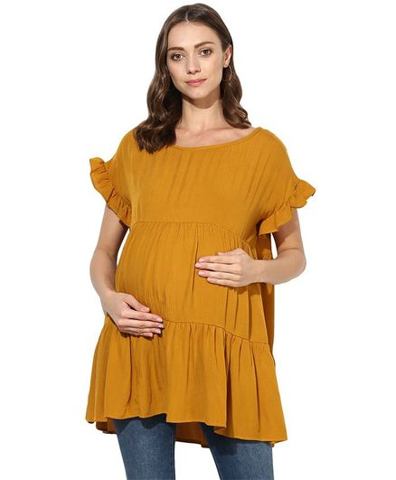 Wobbly Walk Solid Short Sleeves Maternity Top - Yellow