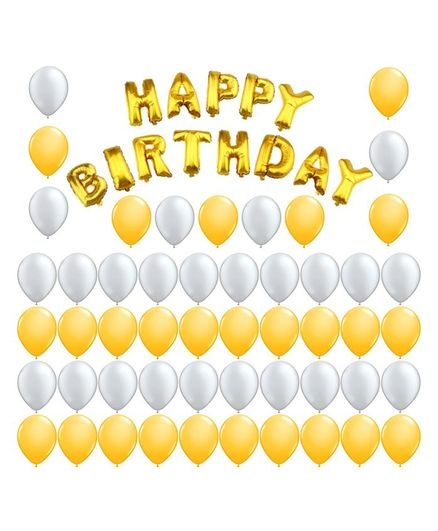 Party Propz Happy Birthday Letters Foil Balloons - 64 Pieces