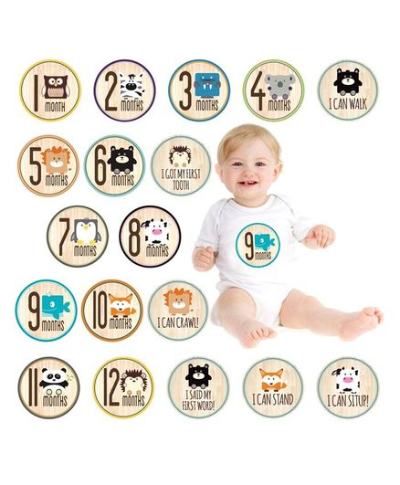 Party Propz Baby Monthly Milestone Stickers Multicolour - 23 Pieces