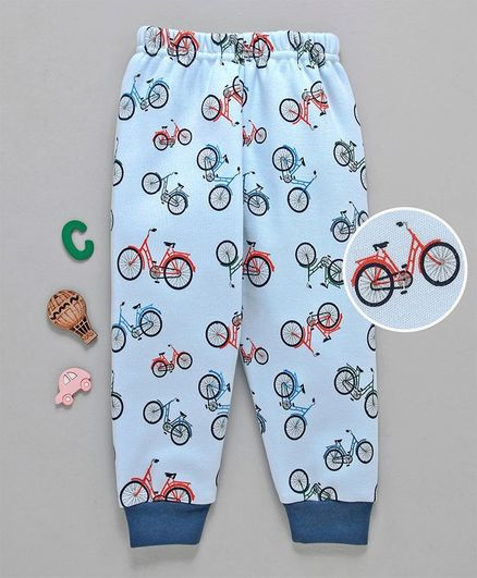 Ollypop Full Length Lounge Pants Cycle Print - Light Blue