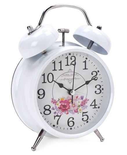 Round Shape Analog Alarm Clock - White