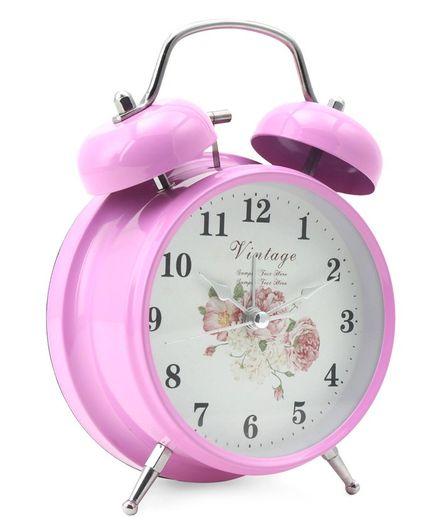 Round Shape Analog Alarm Clock - Pink