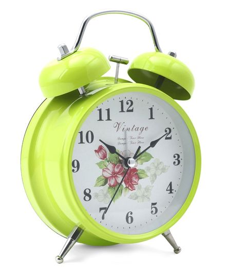 Round Shape Analog Alarm Clock - Green