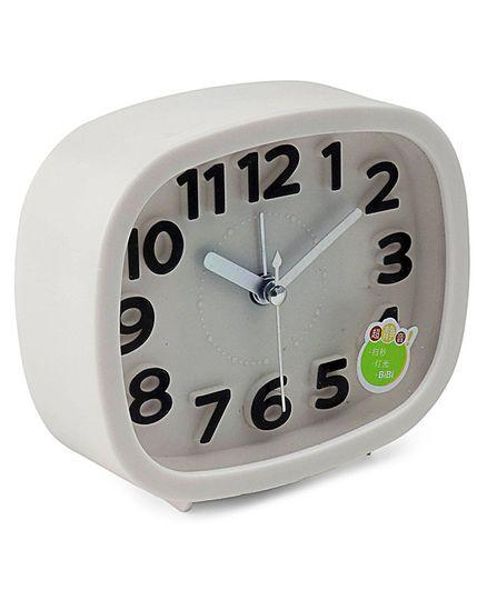 Square Shaped Analog Alarm Clock - White