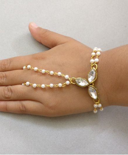 Tiny Closet Ring Chain With 3 Stones - White & Golden
