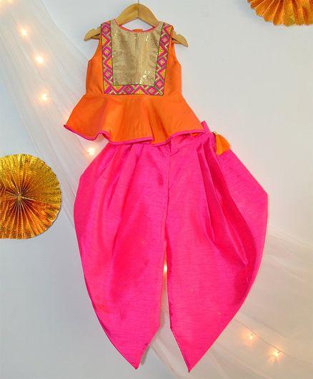 Tutus By Tutu Gold Sequin Crop Top & Dhoti - Orange & Yellow