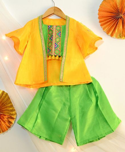 Tutus By Tutu Embroidered Design Top & Palazzo - Green And Yellow
