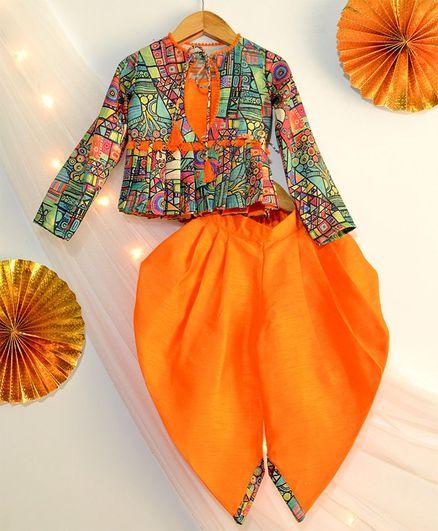 Tutus By Tutu Abstract Print Top & Dhoti - Orange