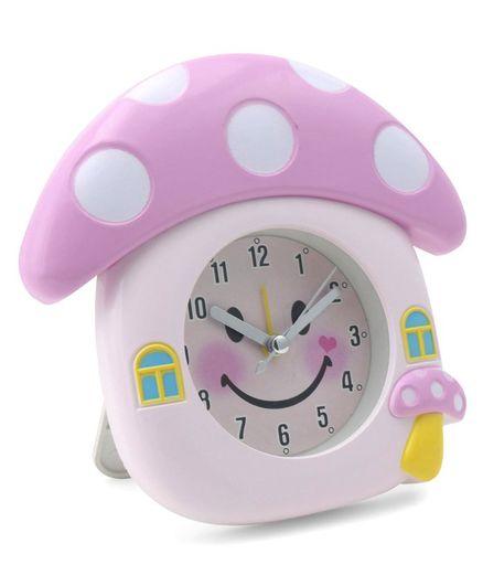 Mushroom Shaped Analog Alarm Clock - Pink
