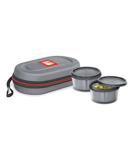 Milton Nutri Lunch Box Elegant Tiffin With Microwavable Steel Container Pack of 2 Grey - 700 ml