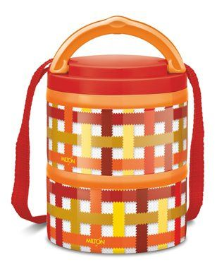 Milton Microwow Insulated Lunch Box With 2 Stainless Steel Containers Orange - 250 ml