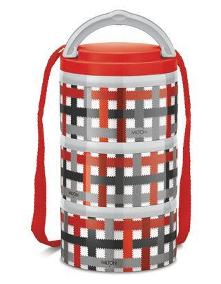 Milton Microwow Insulated Lunch Box With 3 Stainless Steel Containers Red - 250 ml
