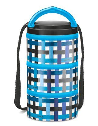 Milton Microwow Insulated Lunch Box With 3 Stainless Steel Containers Blue - 250 ml
