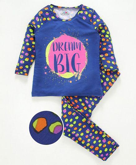 Ventra Full Sleeves Dream Big Night Suit - Multicolor
