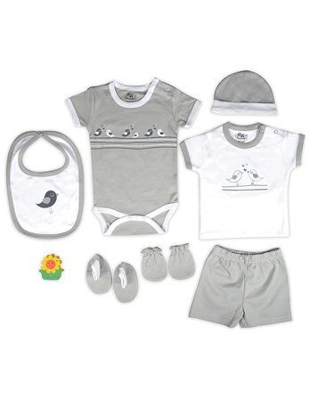 Beebop Babee's Clothing Gift Set Bird Print Pack of 7 - Grey