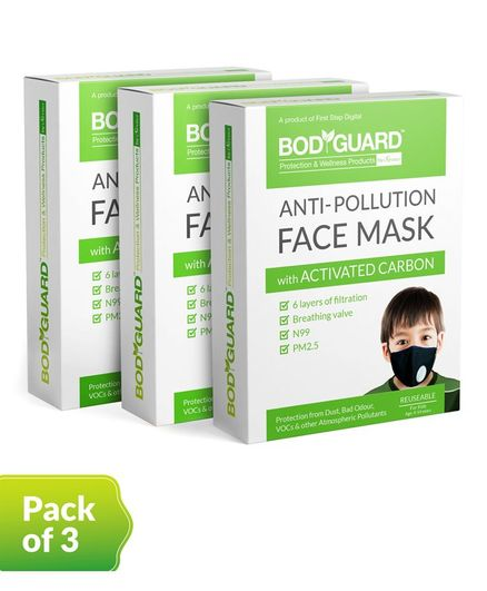 BodyGuard Reusable Anti Pollution Face Mask with Activated Carbon Pack of 3 - Black