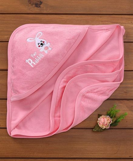 Simply Hooded Towel Bunny Patch - Pink
