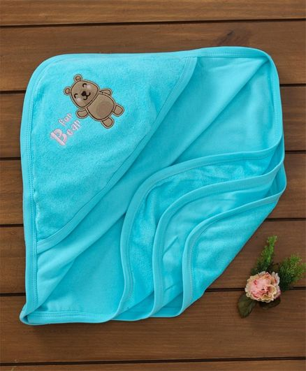 Simply Hooded Towel Bear Patch - Blue