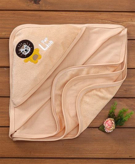 Simply Hooded Towel Lion Patch - Peach