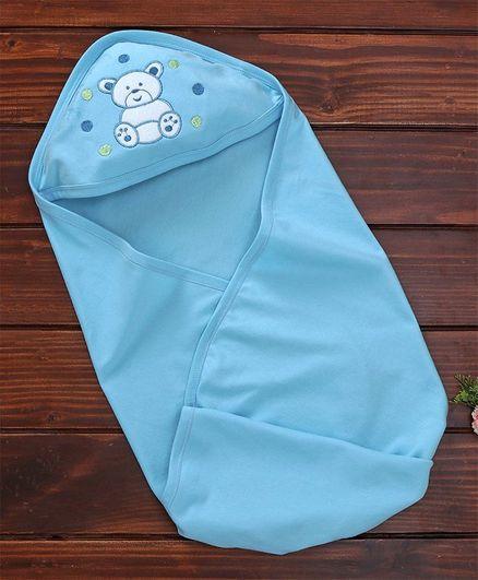 Simply Bear Print Hooded Towel - Blue
