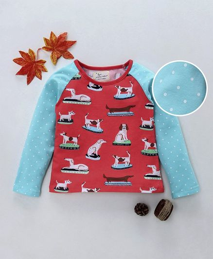 Kookie Kids Full Sleeves T-Shirt With Dog Print - Orange