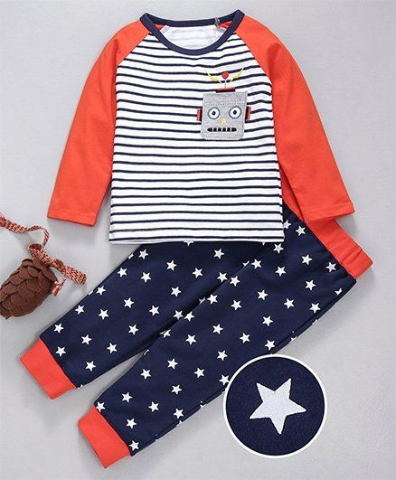 Kookie Kids Striped Full Sleeves Night Suit Set - Orange & Blue