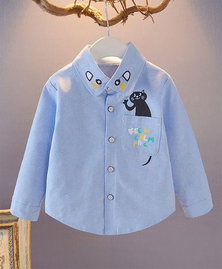 Pre Order - Awabox Full Sleeves Cat Print Collar Neck Shirt - Blue