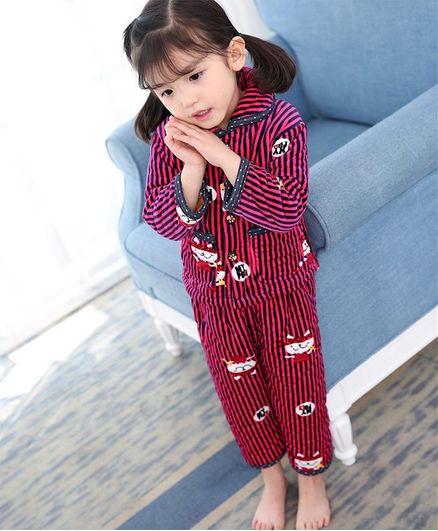 Pre Order - Awabox Full Sleeves Animal Design Striped Night Suit - Pink