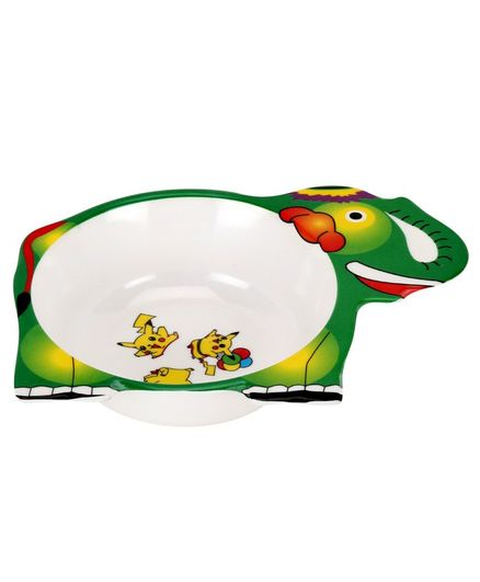 Passion Petals Elephant Shape Melamine Feeding Bowl - Green