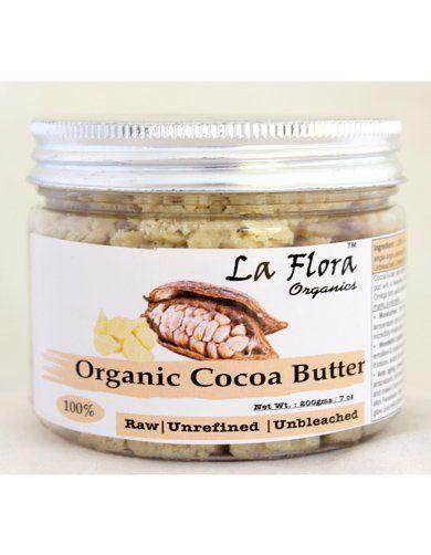 La Flora Organics Organic Cocoa Butter Raw Unrefined Unbleached -200 gm