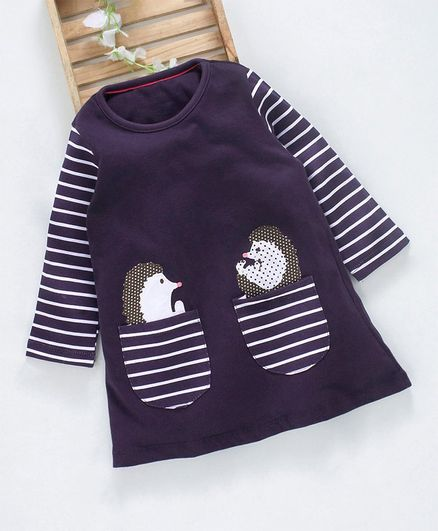 Kookie Kids Side Striped Sleeves Night Dress - Dark Purple