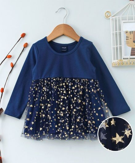 Kookie Kids Stars Print Full Sleeves Dress - Navy Blue