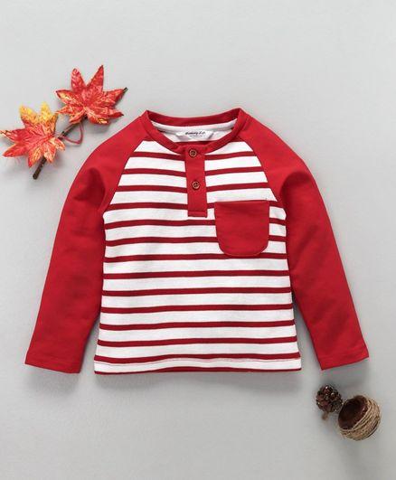 Memory Life Full Sleeves Striped T-Shirt - Red & White