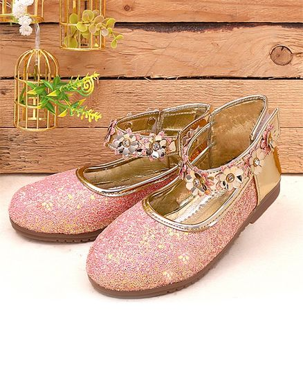 Buy Dchica Glitter Finish Flower Strap Bellies Pink for Girls (3-4 Years ... c80b86634909
