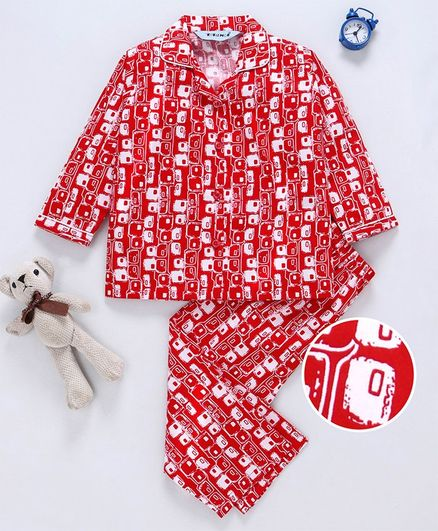 32c4cec1ea Buy Enfance Core Printed Full Sleeves Night Suit Set Red for Both (4 ...