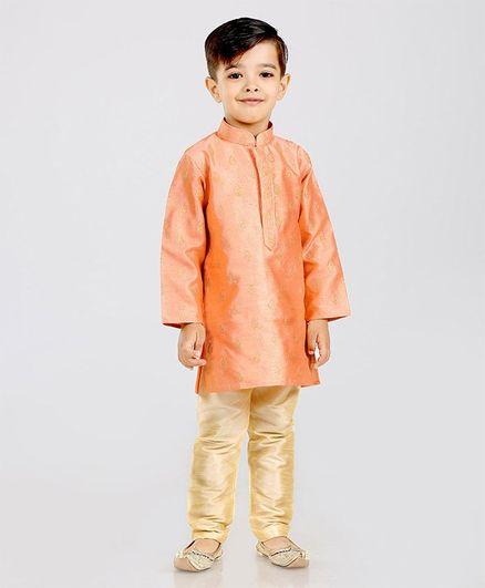 Dapper Dudes Brocade Design Full Sleeves Kurta & Pyjama Set - Peach