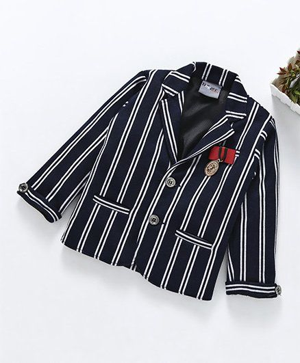 e8ff76c411e2 Buy Dapper Dudes Striped Full Sleeves Blazer Navy Blue for Boys (3 ...