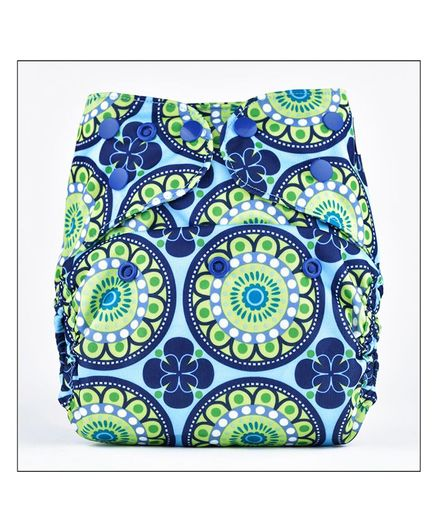 Bumberry Diaper Cover With Attached Insert Floral Print - Blue Green