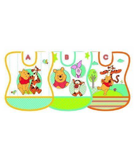 The First Years Winnie the Pooh Vinyl Tie Knot Bib - Pack of 6
