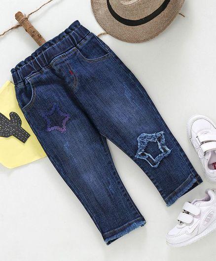 Kookie Kids Star Design Full Length Jeans - Navy