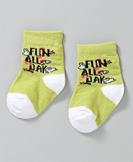 Cute Walk by Babyhug Ankle Length Non Terry Anti-Bacterial Socks Text Print - Lime Green