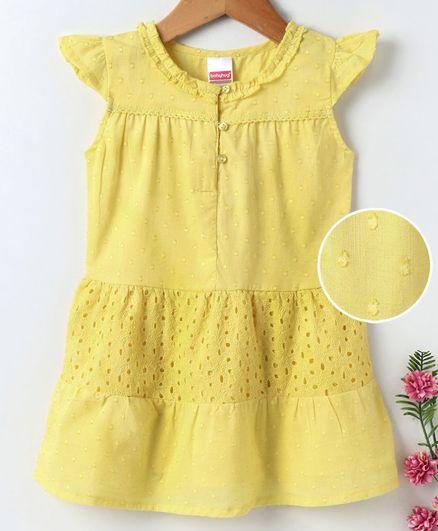 Babyhug Cap Sleeves Frock Embroidered - Yellow