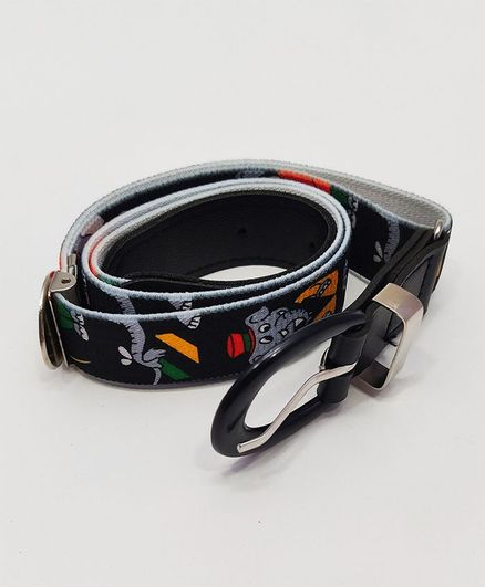 Kid-O-World Stretchable Belt With Buckle Closure Elephant Print - Black