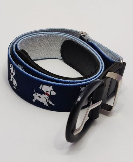 Kid-O-World Stretchable Belt With Buckle Closure Doggy Print - Blue